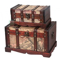 Quickway Imports Old World Map Wooden Trunk/Box, Set of 2
