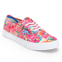 Vans Girls Authentic Slim Pink & White Floral Print Shoe