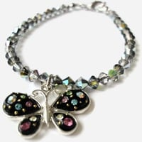 Black Crystals Butterfly Bracelet Women Ladies | LittleApples - Jewelry on ArtFire