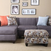 Florence Sectional Sofa in Microfiber Finish with ottoman and free accent Pillows