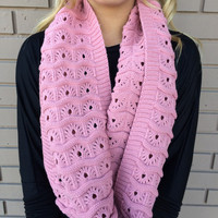 Pink Texture Knit Infinity Scarf