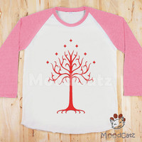 S, M, L -- Red Tree T-Shirt Lord of The Rings T-Shirt Gondor T-Shirt Women T-Shirt Unisex T-Shirt Raglan Shirt Pink Sleeve Baseball T-Shirt