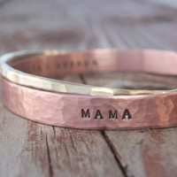 Valentine's Day Gift for Mom Personalized Gold and Copper CUFFS Hammered Inspirational Cuffs Rustic Gift for Her