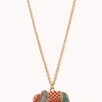 Bejeweled Elephant Pendant Necklace