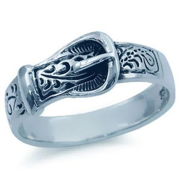 925 Sterling Silver BELT BUCKLE Ring