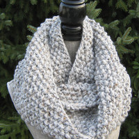 Women's Chunky Knit GreyCowl - Wool Blend Women's Infinity Scarf - Other Colours Available - Chunky Ivory Cowl - Knit Oatmeal Cowl