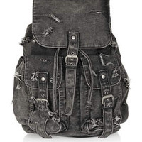 RIPPED DENIM BACKPACK