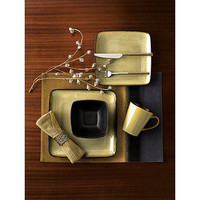 Hometrends Rave Square Dinnerware Set, Taupe,16-Piece Set - Walmart.com