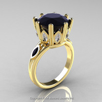 Classic 14K Yellow Gold 5.0 Ct Black Diamond Marquise CZ Solitaire Ring R160-14KYGCZBD