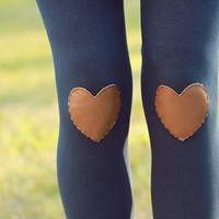 My Leather Heart Navy Leggings // size medium