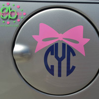 CIRCLE MONOGRAM with BOW Vinyl Car Decal - Gas Tank Decal