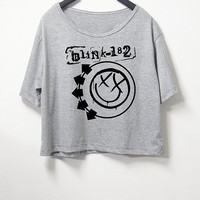Blink 182, crop top, grey color, women crop shirt, screenprint tshirt, graphic tee