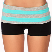 Striped Foldover Yoga Shorts