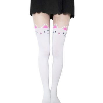 Cat Tails Printed Tights (White)