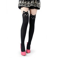 Cat Tails Printed Tights (Black)