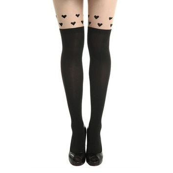 Tattoo Hearts Tights (Black)