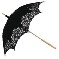 Black Emma - Battenberg Lace Parasol by Chrysalin