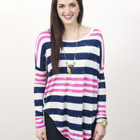 Oversized Striped Top Navy » Vertage Clothing