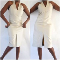 Carolina Herrera Halter Dress Size 8 Stunning 53% Silk 47% Cotton