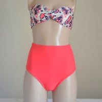 Pink coral fully lined high waisted bikini bottom retro maillot women's swimwear bathing suit bikini