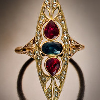 Art Deco Russian Gemstone Ring