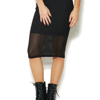 Mesh Illusion Midi Skirt | Wet Seal