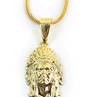Gold Indian Chief Head Necklace