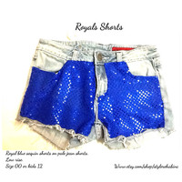 The Royals Shorts. Blue sequins. Size 00 womens or kids size 12.