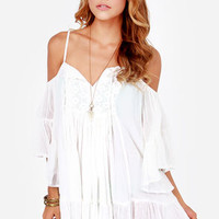 Roxy Beach Dreamer Off-the-Shoulder Ivory Dress