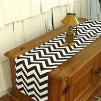 "Chevron Black Table Runner 12"" x 72"""
