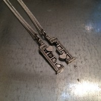 Doctor Who TARDIS Phone Booth Double Heart Friendship Necklace on the redditgifts Marketplace
