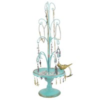Blue Bird Fountain Jewelry Stand Shabby Chic