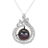 Sterling Silver Necklace 2.30 CTW Pearl , Cubic Zirconia - The Perfect V-Day Gift: Silver Jewelry from $9 - Modnique.com