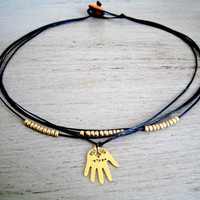 Necklace and 24k Gold plated Hamsa Hand Charm by loelle on Etsy