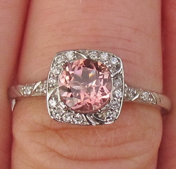 Engagement Ring Pale Peach Tourmaline In From Pristine Jewelry For October Birthstone Wedding Rings